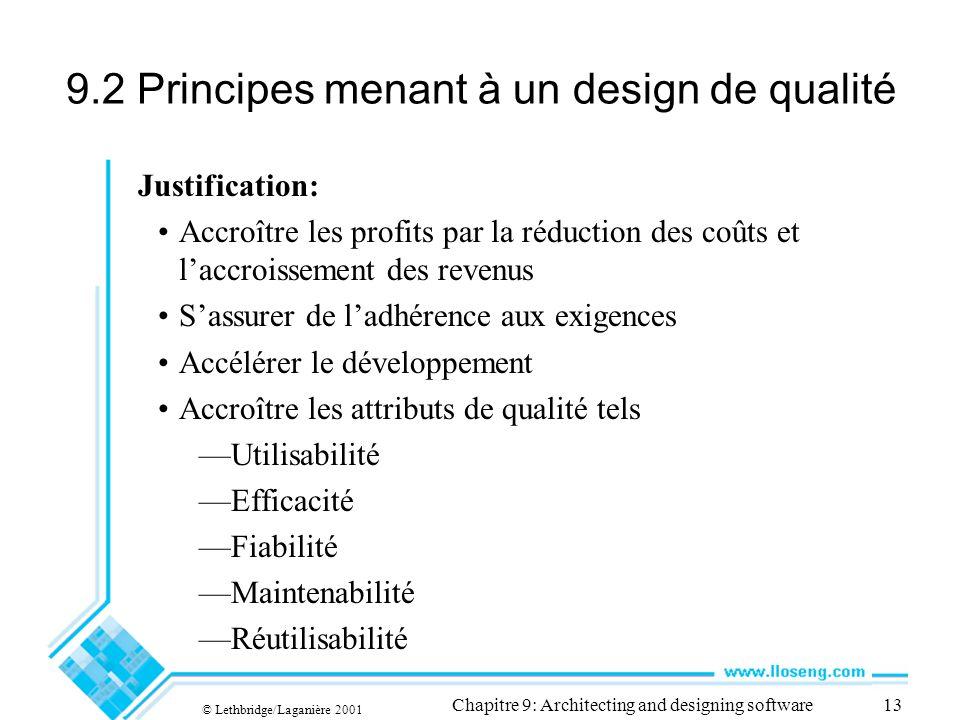 9.2 Principes menant à un design de qualité