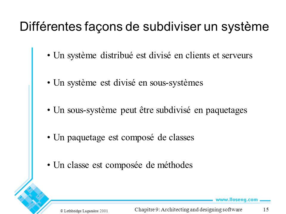 Différentes façons de subdiviser un système