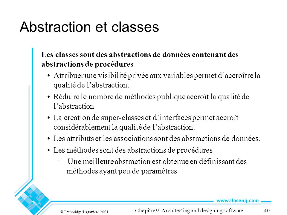 Abstraction et classes