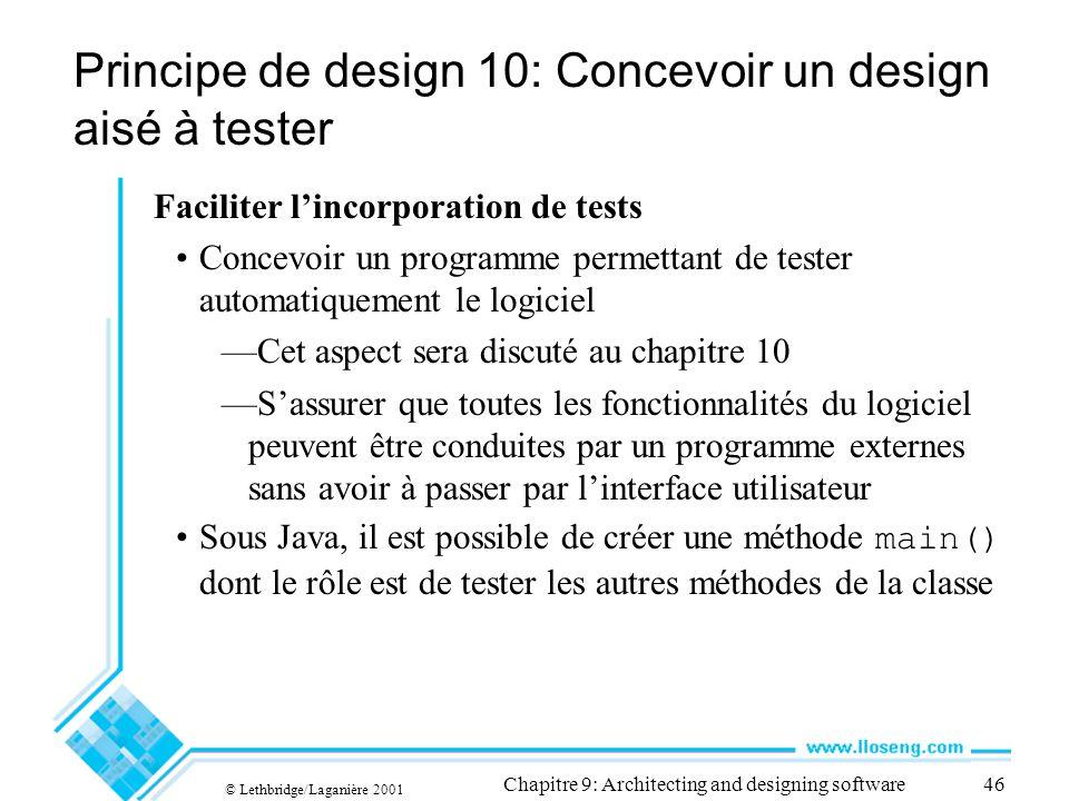 Principe de design 10: Concevoir un design aisé à tester