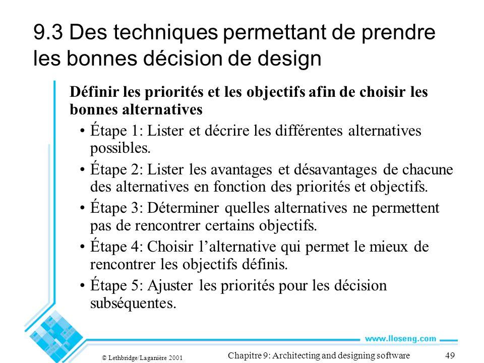 9.3 Des techniques permettant de prendre les bonnes décision de design