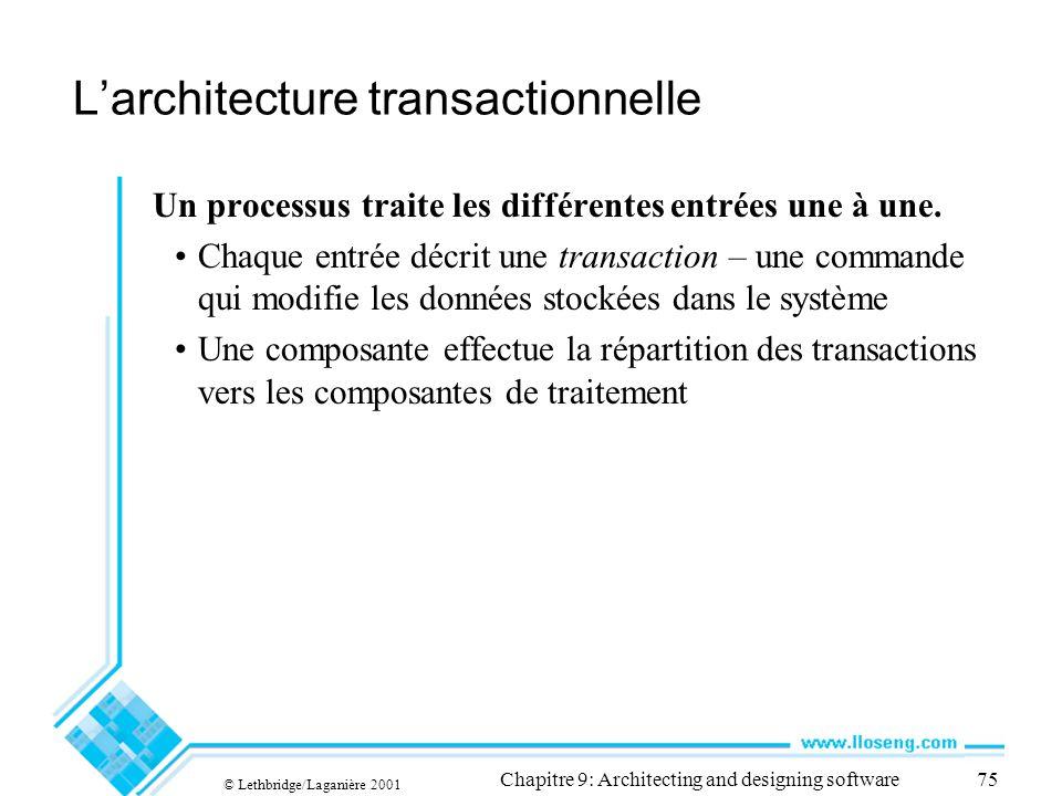 L'architecture transactionnelle