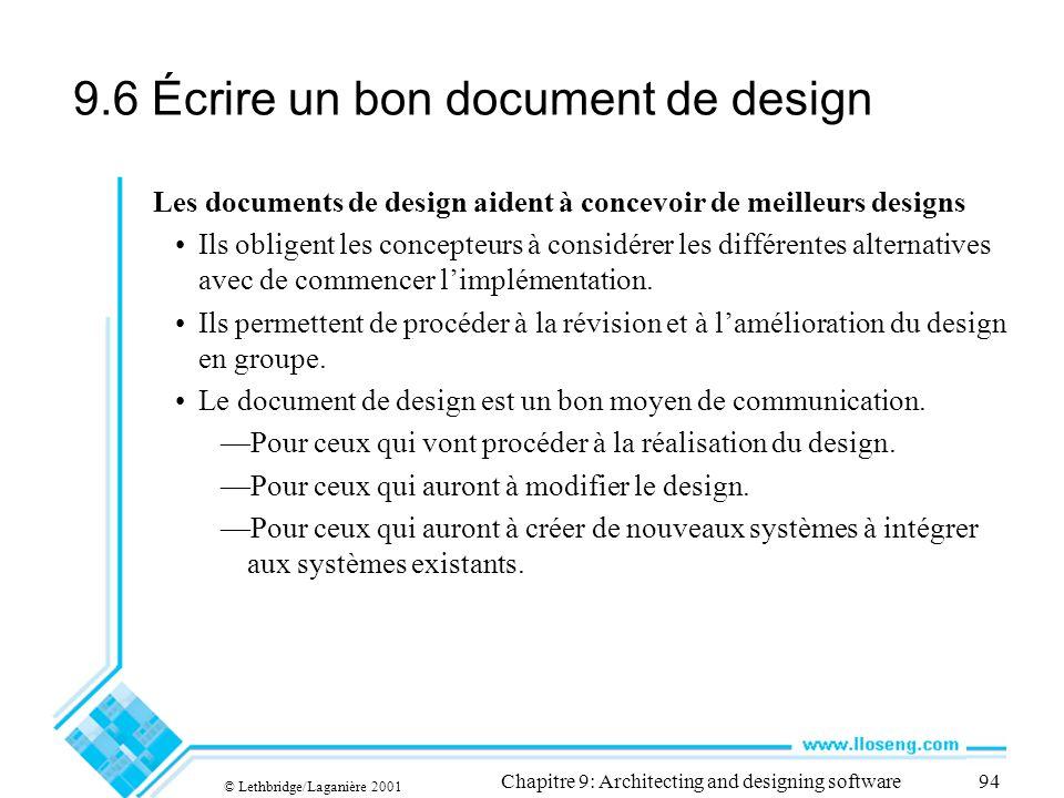 9.6 Écrire un bon document de design