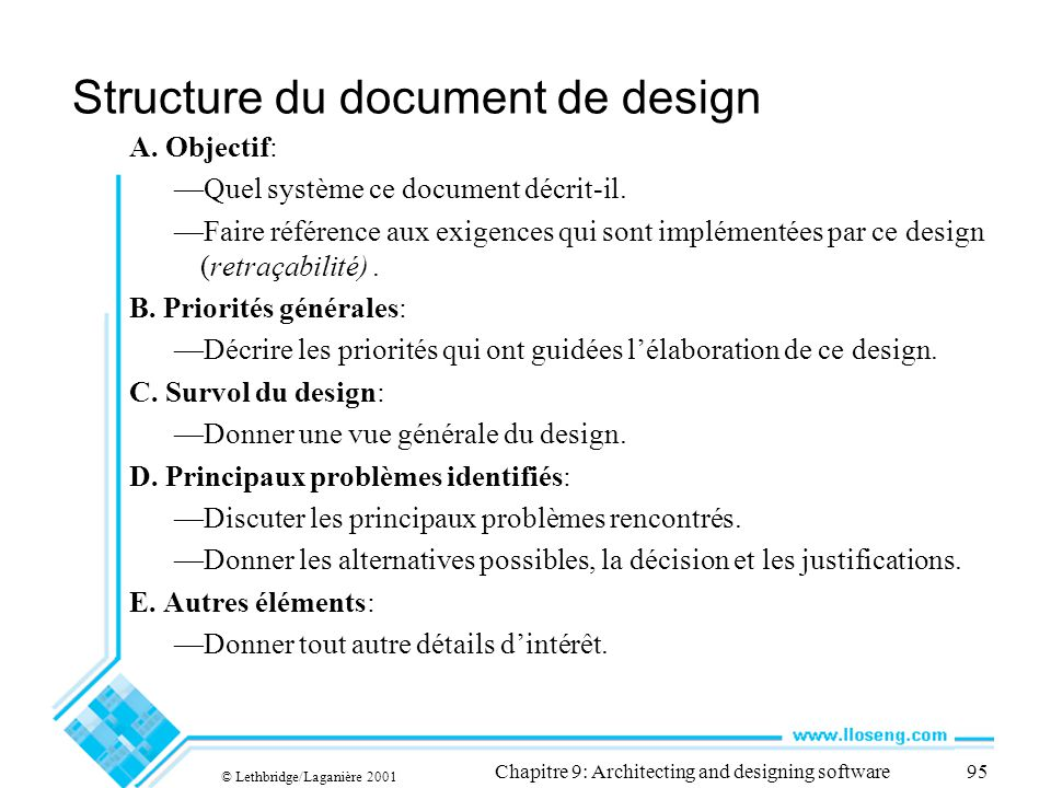Structure du document de design