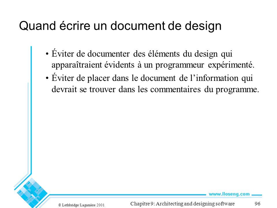 Quand écrire un document de design