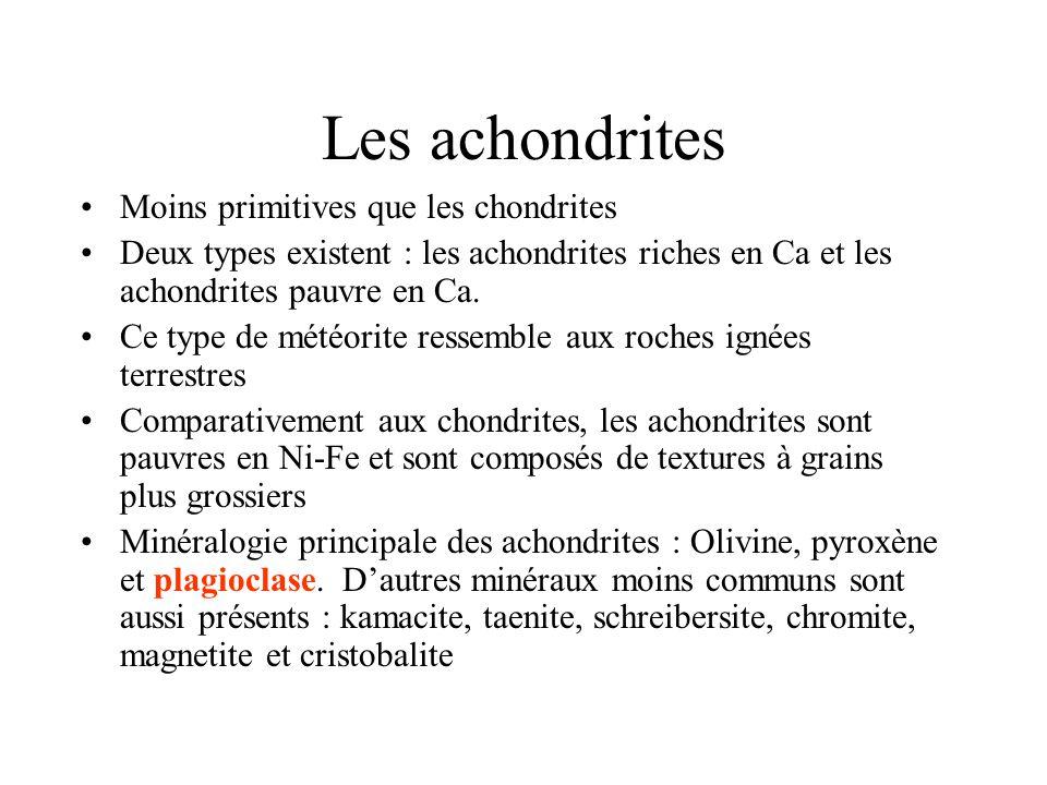 Les achondrites Moins primitives que les chondrites