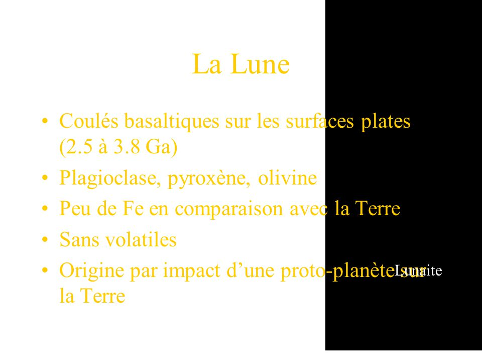 La Lune Coulés basaltiques sur les surfaces plates (2.5 à 3.8 Ga)