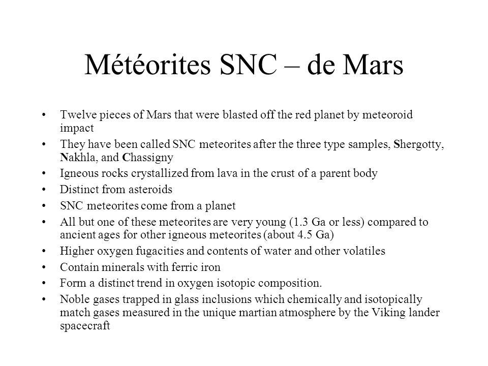Météorites SNC – de Mars