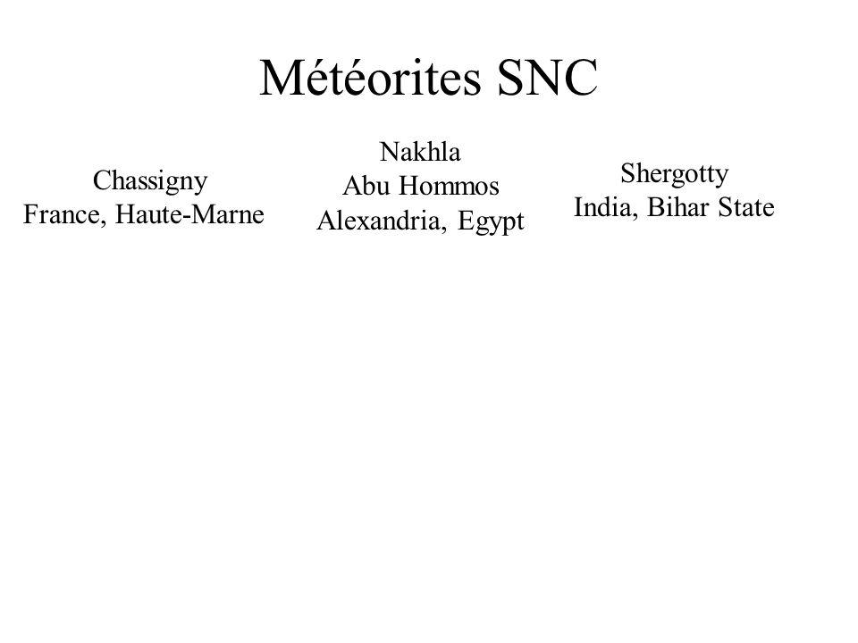 Météorites SNC Nakhla Abu Hommos Shergotty Chassigny Alexandria, Egypt