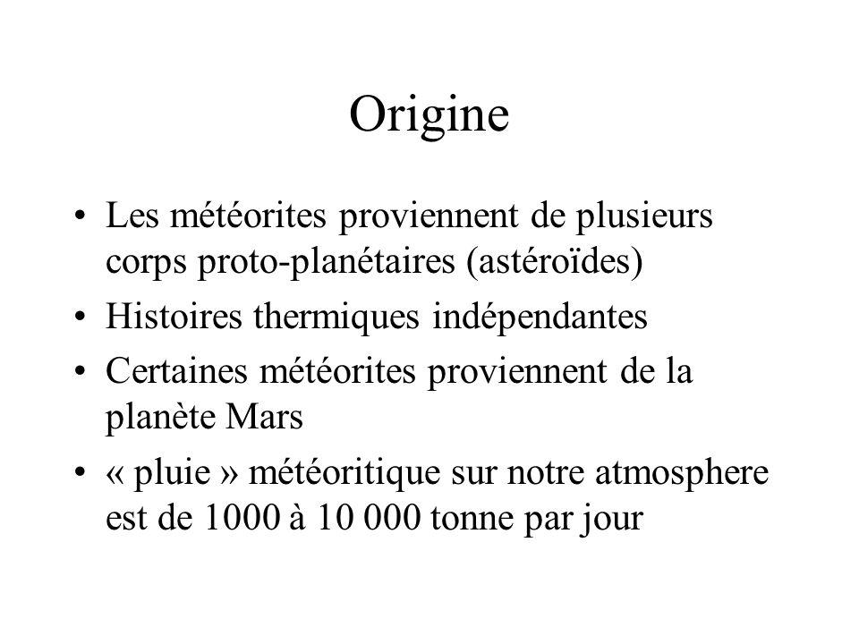 Origine Les météorites proviennent de plusieurs corps proto-planétaires (astéroïdes) Histoires thermiques indépendantes.