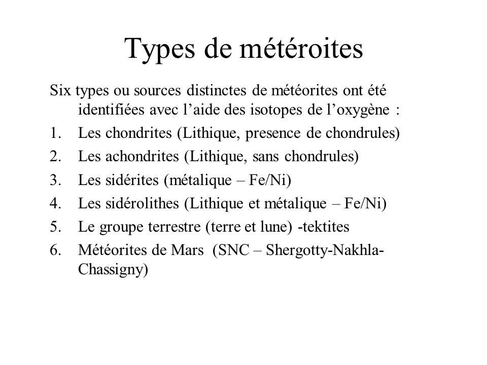 Types de météroites Six types ou sources distinctes de météorites ont été identifiées avec l'aide des isotopes de l'oxygène :