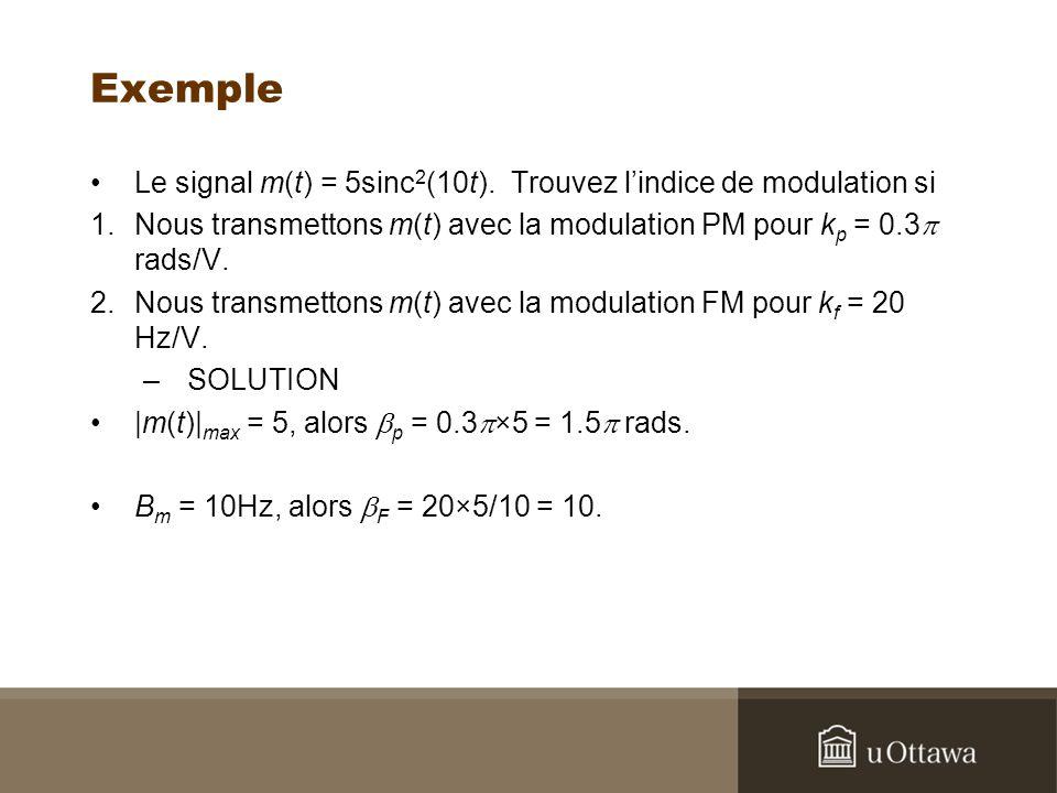 Exemple Le signal m(t) = 5sinc2(10t). Trouvez l'indice de modulation si. Nous transmettons m(t) avec la modulation PM pour kp = 0.3p rads/V.