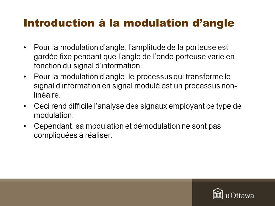 Introduction à la modulation d'angle