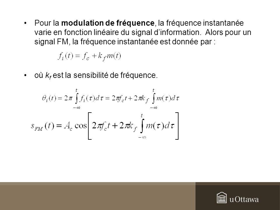 Pour la modulation de fréquence, la fréquence instantanée varie en fonction linéaire du signal d'information. Alors pour un signal FM, la fréquence instantanée est donnée par :
