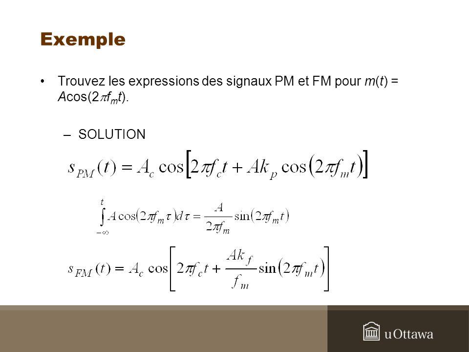 Exemple Trouvez les expressions des signaux PM et FM pour m(t) = Acos(2pfmt). SOLUTION