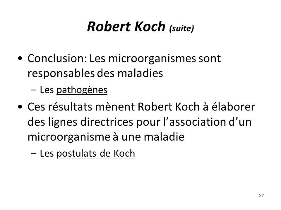 Robert Koch (suite) Conclusion: Les microorganismes sont responsables des maladies. Les pathogènes.