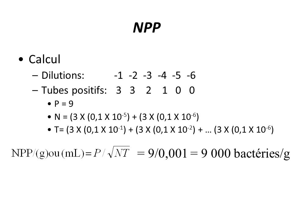 NPP Calcul = 9/0,001 = 9 000 bactéries/g Dilutions: -1 -2 -3 -4 -5 -6