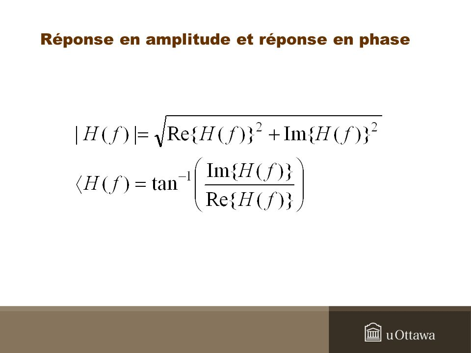 Réponse en amplitude et réponse en phase