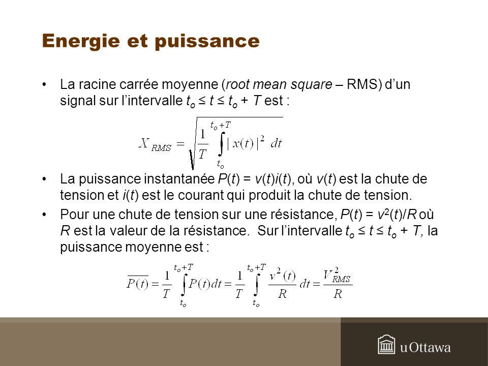 Energie et puissance La racine carrée moyenne (root mean square – RMS) d'un signal sur l'intervalle to ≤ t ≤ to + T est :