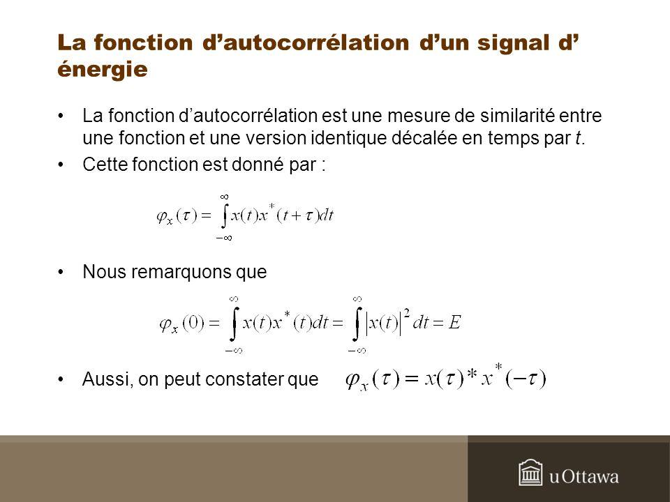 La fonction d'autocorrélation d'un signal d' énergie
