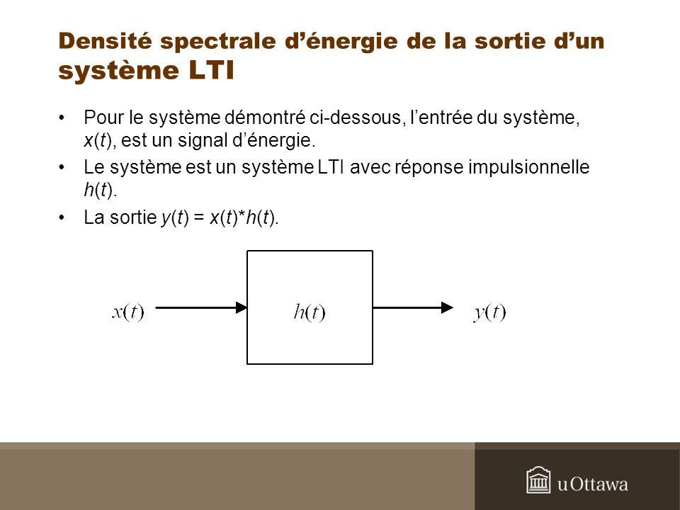 Densité spectrale d'énergie de la sortie d'un système LTI