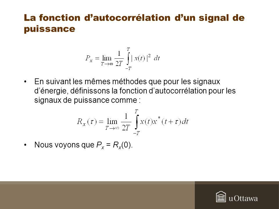 La fonction d'autocorrélation d'un signal de puissance