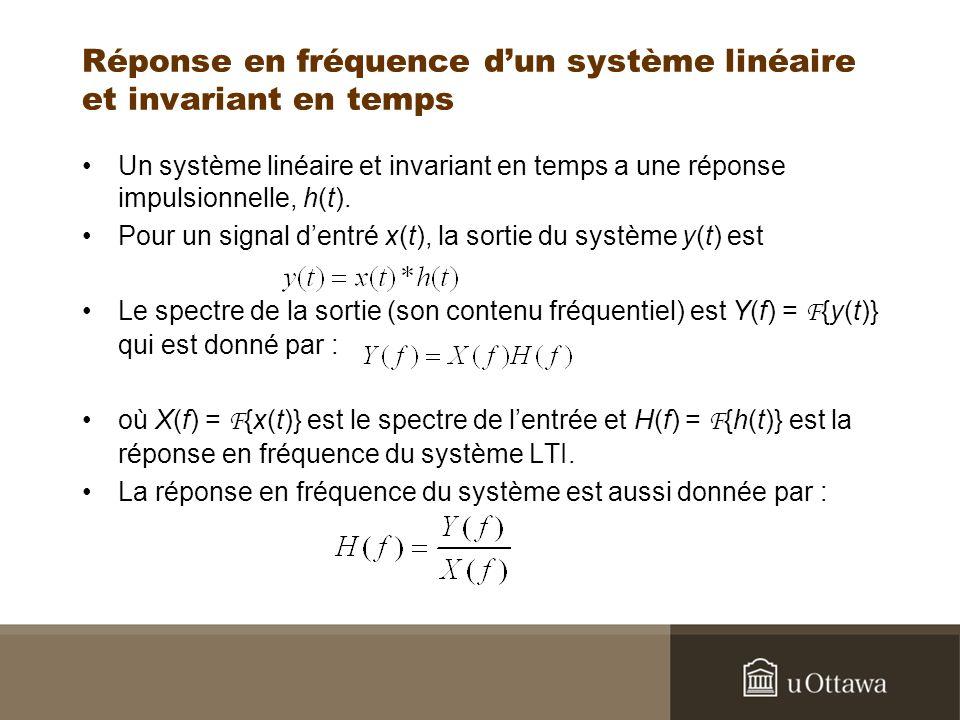 Réponse en fréquence d'un système linéaire et invariant en temps
