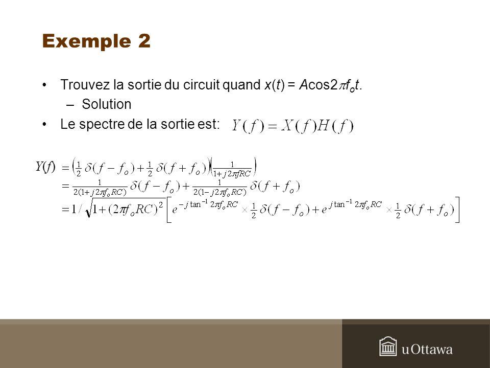 Exemple 2 Trouvez la sortie du circuit quand x(t) = Acos2pfot.