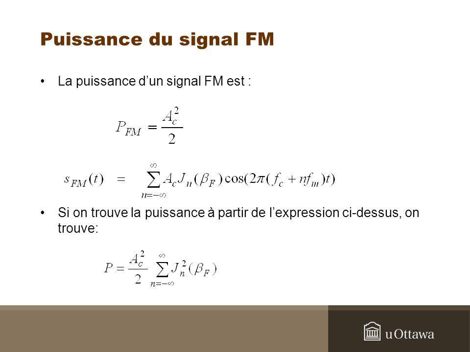Puissance du signal FM La puissance d'un signal FM est :
