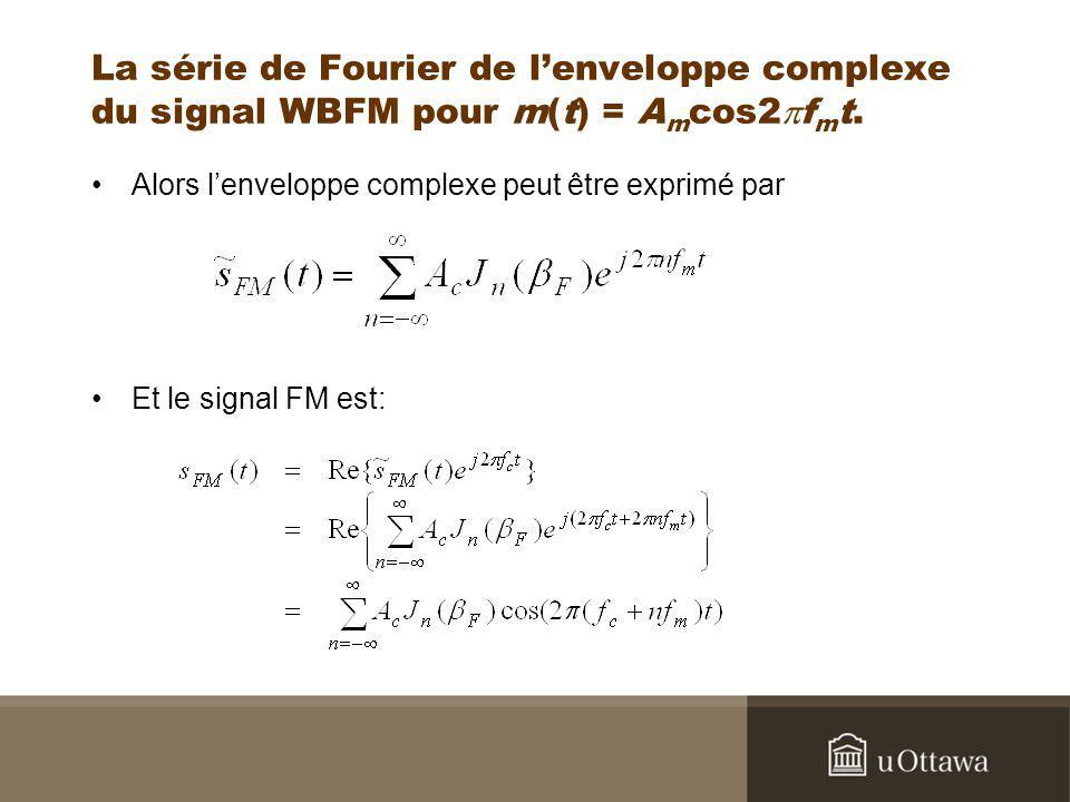 La série de Fourier de l'enveloppe complexe du signal WBFM pour m(t) = Amcos2pfmt.