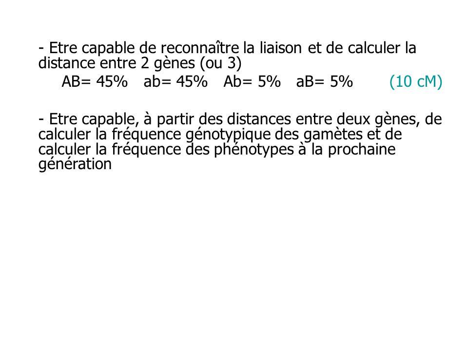 - Etre capable de reconnaître la liaison et de calculer la distance entre 2 gènes (ou 3)