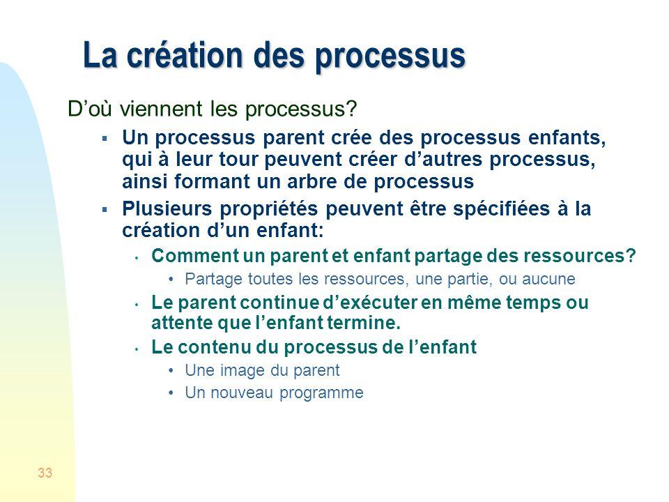 La création des processus