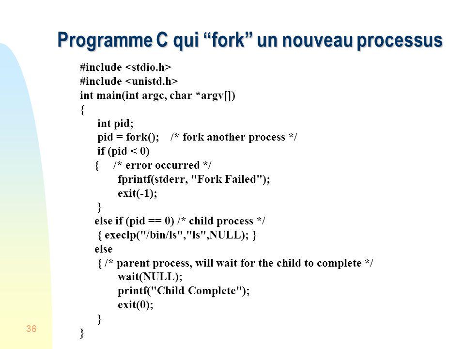 Programme C qui fork un nouveau processus