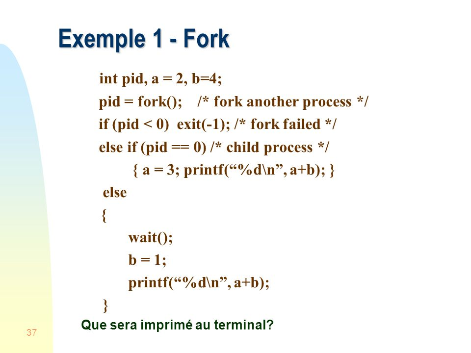 Exemple 1 - Fork int pid, a = 2, b=4;