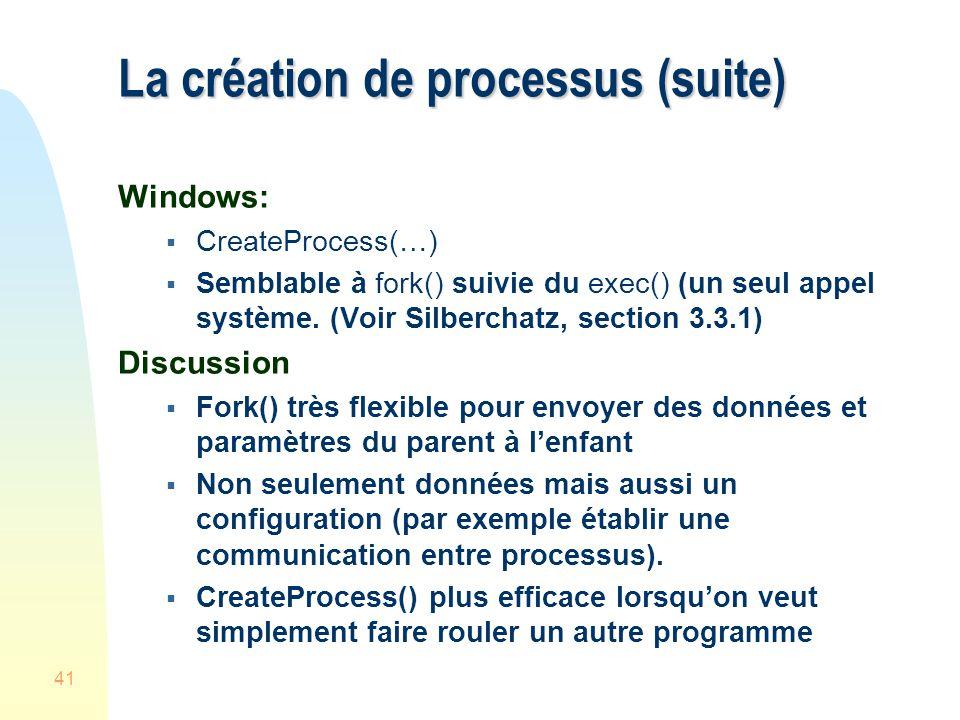 La création de processus (suite)