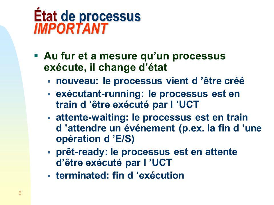 État de processus IMPORTANT
