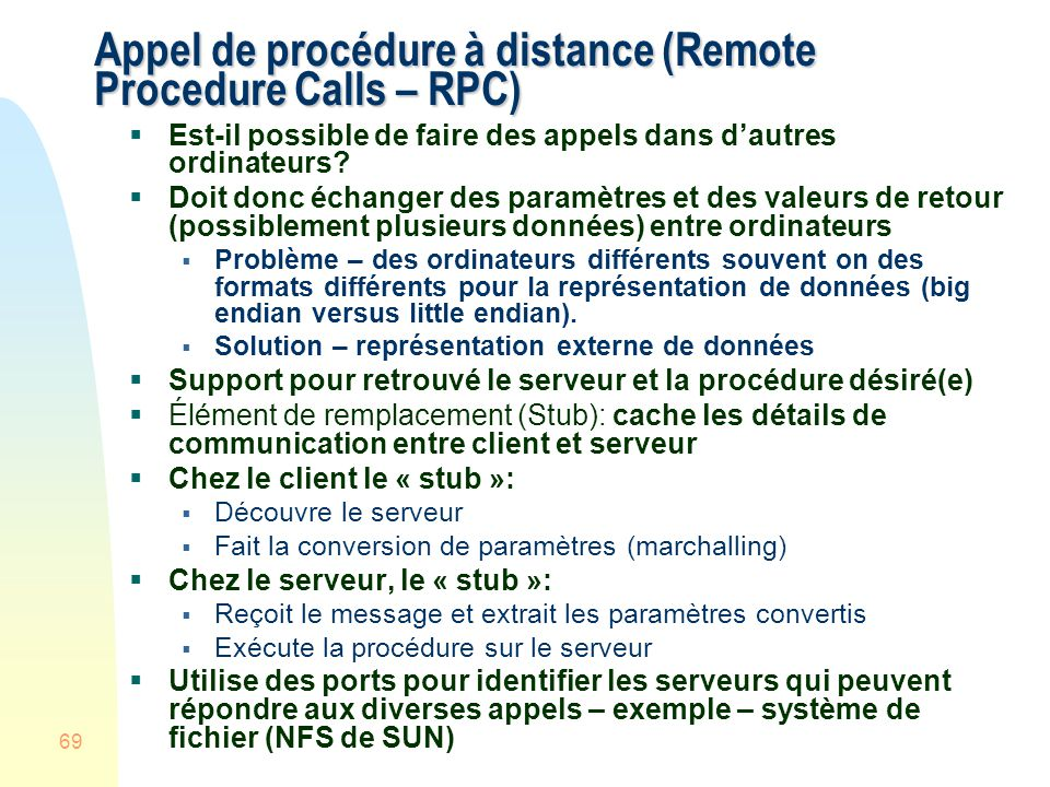 Appel de procédure à distance (Remote Procedure Calls – RPC)
