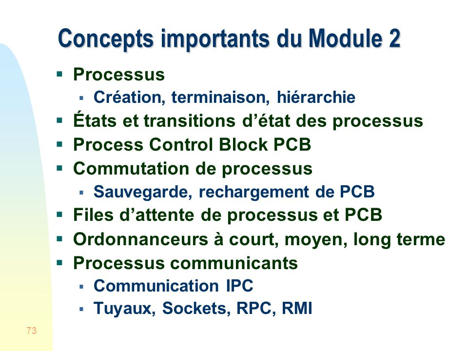 Concepts importants du Module 2