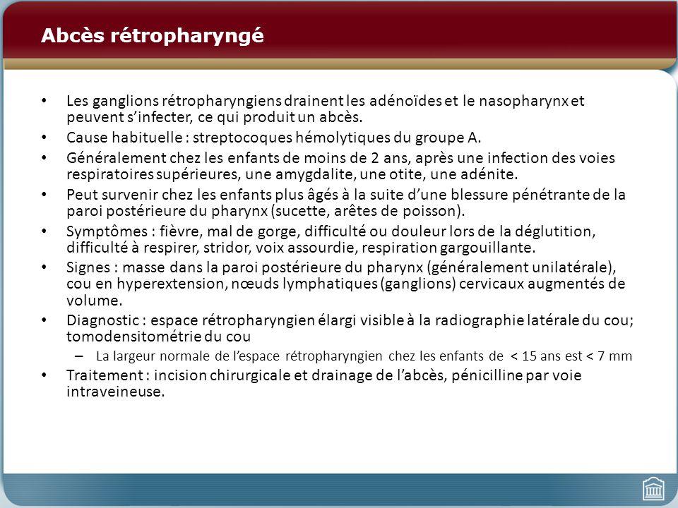Abcès rétropharyngé Les ganglions rétropharyngiens drainent les adénoïdes et le nasopharynx et peuvent s'infecter, ce qui produit un abcès.