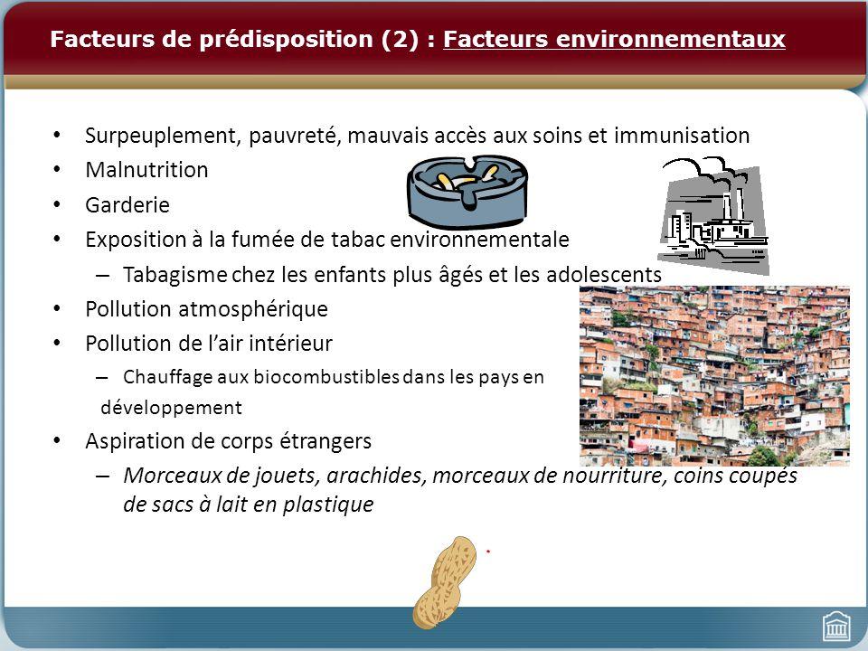 Facteurs de prédisposition (2) : Facteurs environnementaux
