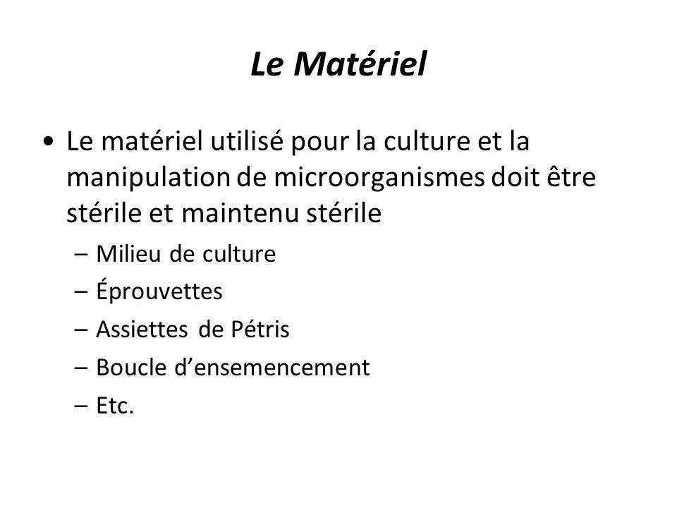Le Matériel Le matériel utilisé pour la culture et la manipulation de microorganismes doit être stérile et maintenu stérile.