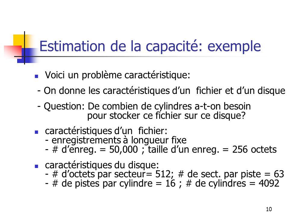 Estimation de la capacité: exemple