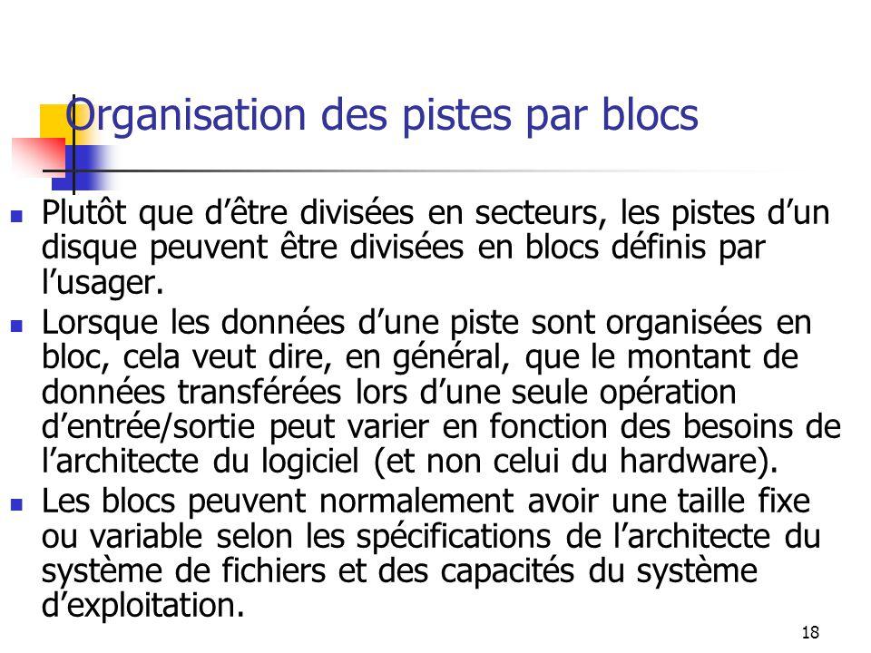 Organisation des pistes par blocs