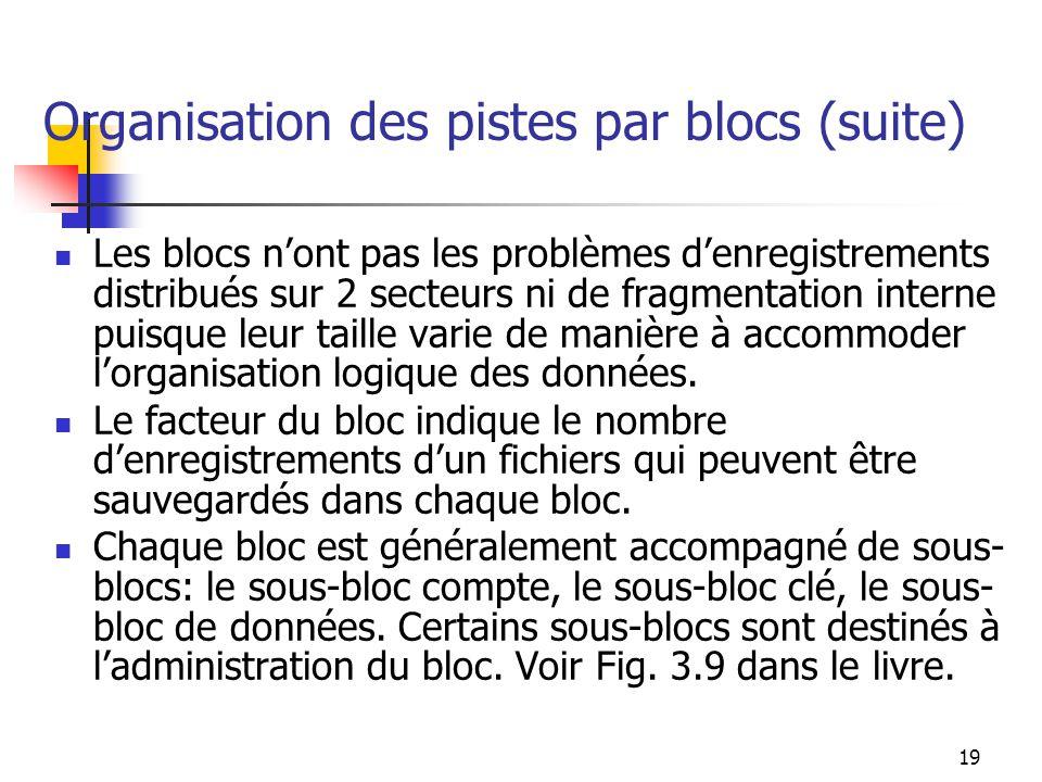 Organisation des pistes par blocs (suite)