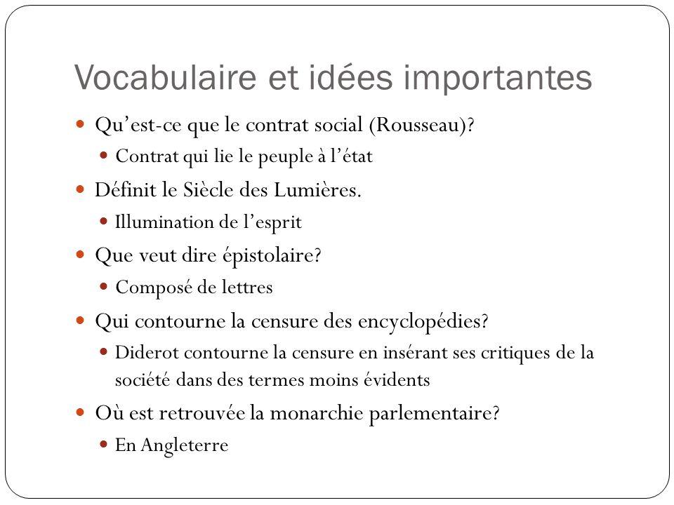 Vocabulaire et idées importantes