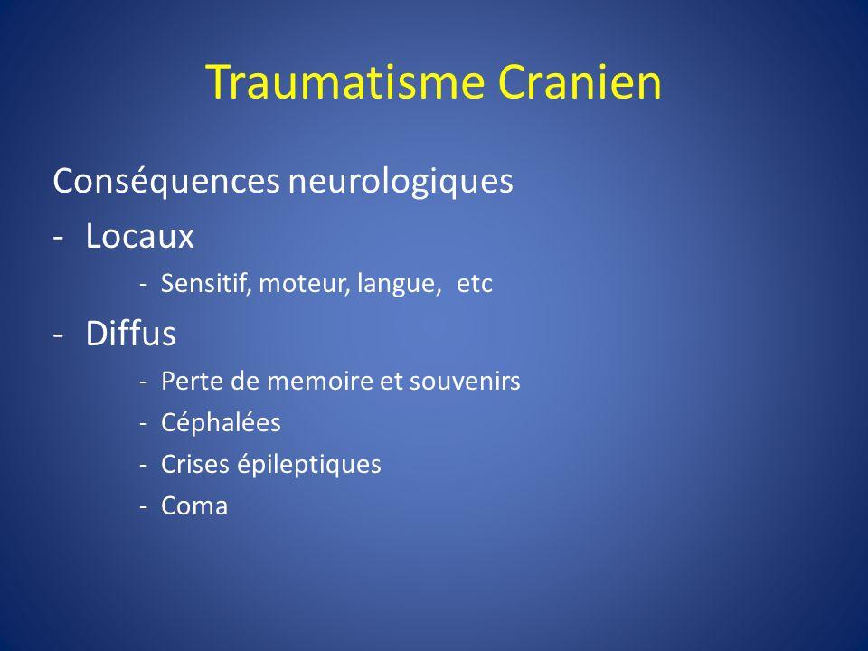 Traumatisme Cranien Conséquences neurologiques Locaux Diffus