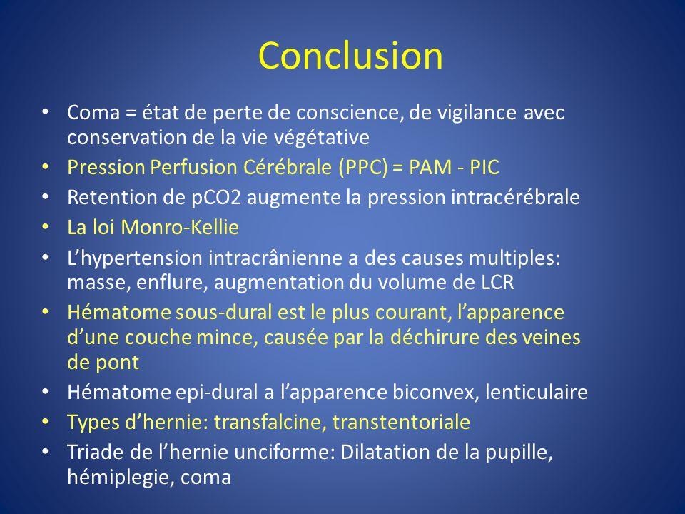 Conclusion Coma = état de perte de conscience, de vigilance avec conservation de la vie végétative.