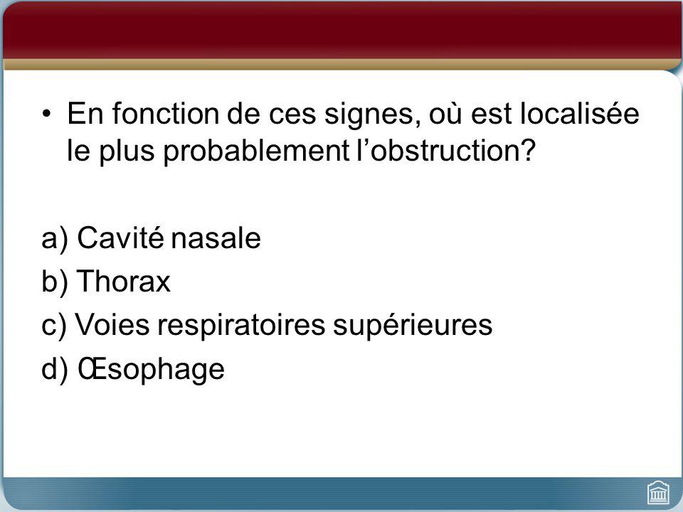 c) Voies respiratoires supérieures d) Œsophage