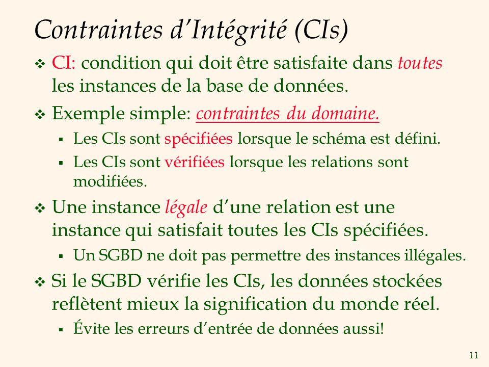 Contraintes d'Intégrité (CIs)