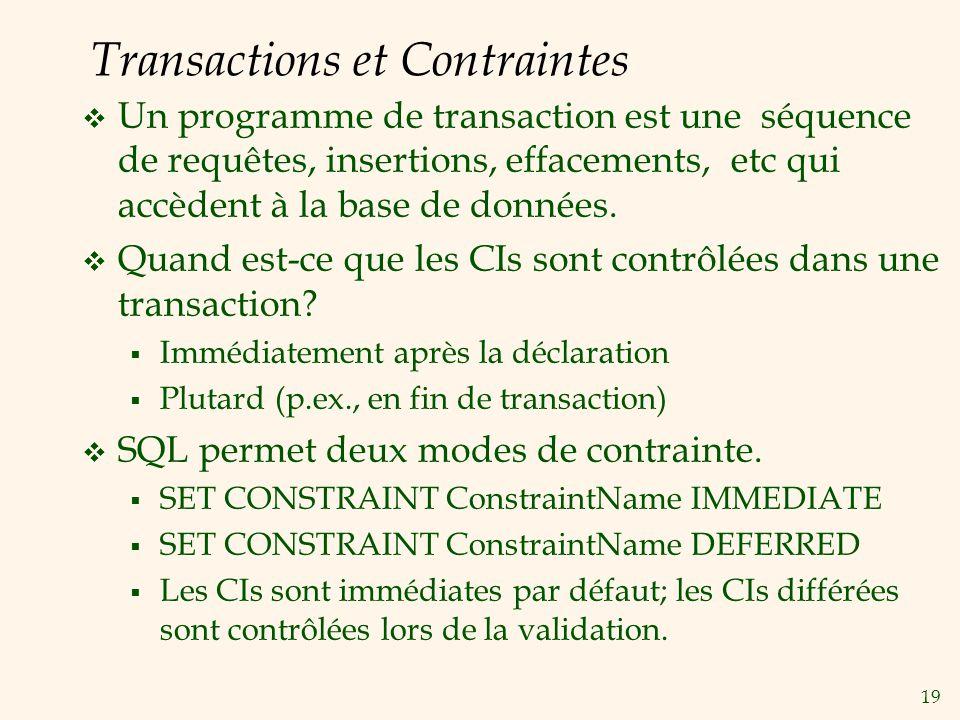 Transactions et Contraintes